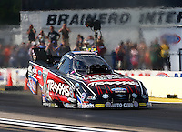 Aug 15, 2014; Brainerd, MN, USA; NHRA funny car driver Courtney Force during qualifying for the Lucas Oil Nationals at Brainerd International Raceway. Mandatory Credit: Mark J. Rebilas-