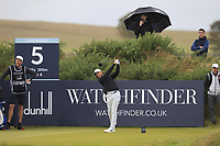 Tommy Fleetwood (ENG) on the 5th tee during Round 2 of the Alfred Dunhill Links Championship 2019 at Kingbarns Golf CLub, Fife, Scotland. 27/09/2019.<br /> Picture Thos Caffrey / Golffile.ie<br /> <br /> All photo usage must carry mandatory copyright credit (© Golffile | Thos Caffrey)