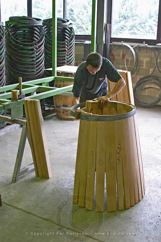 Assembling the staves. Cooperage, barrel manufacturing, Cadus, Louis Jadot, Ladoix, Beaune, Burgundy, France