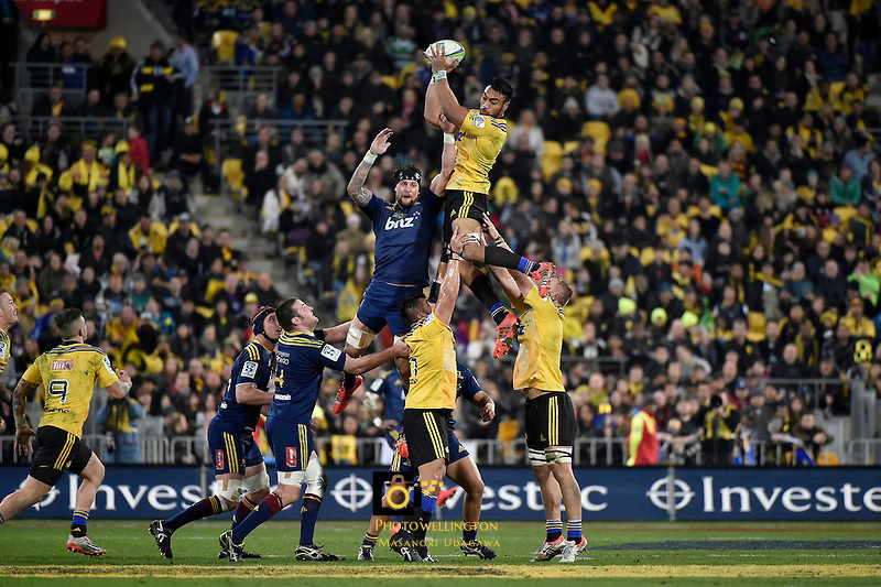 Victor Vito in action during the Super Rugby Final - Hurricanes v Highlanders at Westpac Stadium, Wellington, New Zealand on Saturday 4 July 2015.<br /> Photo by Masanori Udagawa. <br /> www.photowellington.photoshelter.com.