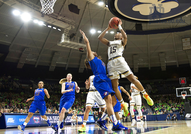 Mar. 22, 2015; Lindsay Allen shoots over DePaul in the second round of the NCAA Tournament at the Purcell Pavilion. (Notre Dame defeated DePaul 79 to 67. (Photo by Barbara Johnston/University of Notre Dame)