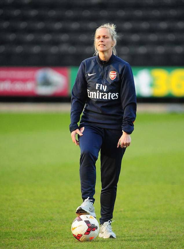 Arsenal Ladies' Manager Shelley Kerr during the pre-match warm-up <br /> <br /> Photo by Chris Vaughan/CameraSport<br /> <br /> Women's Football - FA Women&rsquo;s Super League 1 - Notts County Ladies v Arsenal Ladies - Wednesday 16th April 2014 - Meadow Lane - Nottingham<br /> <br /> &copy; CameraSport - 43 Linden Ave. Countesthorpe. Leicester. England. LE8 5PG - Tel: +44 (0) 116 277 4147 - admin@camerasport.com - www.camerasport.com