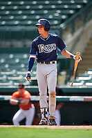 Tampa Bay Rays designated hitter Joshua Lowe (18) during an Instructional League game against the Baltimore Orioles on September 19, 2016 at Ed Smith Stadium in Sarasota, Florida.  (Mike Janes/Four Seam Images)