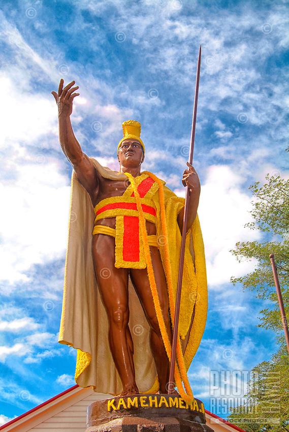 The King Kamehameha statue in Hawi, Big Island of Hawai'i.