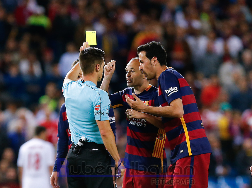 FC Barcelona´s  Sergio Busquets and Andres Iniesta during the Final of Copa del Rey match between FC Barcelona and SevillaFC at the Vicente Calderon Stadium in Madrid, Sunday, May 22, 2016.