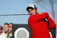 Edoardo Molinari (ITA) tees off on the 1st tee to start his match during Sunday's Final Round of the Bankia Madrid Masters at El Encin Golf Hotel, Madrid, Spain, 9th October 2011 (Photo Eoin Clarke/www.golffile.ie)
