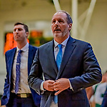 8 December 2018: University of Vermont Meghan and Robert Cioffi Men's Basketball Head Coach John Becker leaves the court down 36-29 at the half against the Harvard University Crimson at Patrick Gymnasium in Burlington, Vermont. The America East Catamounts overcame a 10-point 2nd half deficit, to defeat the Ivy League Crimson 71-65 in NCAA Division I inter-league play. Mandatory Credit: Ed Wolfstein Photo *** RAW (NEF) Image File Available ***