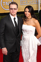 LOS ANGELES, CA - JANUARY 18: Matt Damon, Luciana Barroso at the 20th Annual Screen Actors Guild Awards held at The Shrine Auditorium on January 18, 2014 in Los Angeles, California. (Photo by Xavier Collin/Celebrity Monitor)