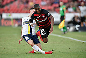 9th February 2019, Spotless Stadium, Sydney, Australia; A League football, Western Sydney Wanderers versus Central Coast Mariners; Aiden O'Neill of the Central Coast Mariners tackles Roly Bonevacia of the Western Sydney Wanderers