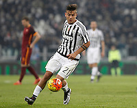 Juventus' Paulo Dybala in action during the Italian Serie A football match between Juventus and Roma at Juventus Stadium.