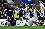 16.03.2019 Guinness Six Nations International Rugby England Vs Scotland at RFU Twickenham Stadium UK<br /> England celebrate scoring a try during the match which was tied 38-38