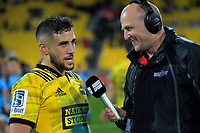 RadioSport's Jason Pine interviews Hurricanes TJ Perenara after the Super Rugby quarterfinal between the Hurricanes and Bulls at Westpac Stadium in Wellington, New Zealand on Saturday, 22 June 2019. Photo: Dave Lintott / lintottphoto.co.nz