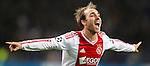 Nederland, Amsterdam, 24 oktober  2012.Champions League.Seizoen 2012-2013.Ajax-Manchester City 3-1.Christian Eriksen van Ajax juicht na het scoren van de 3-1