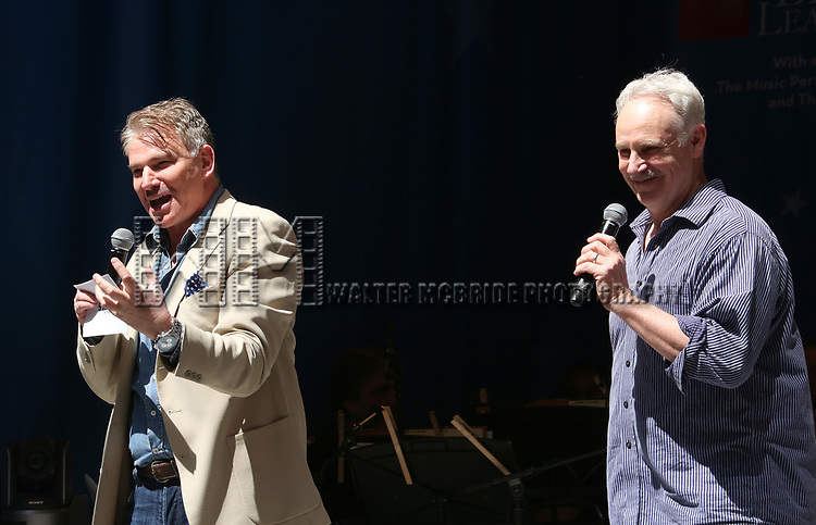 Douglas Sills and John Dossett on stage at United Airlines Presents #StarsInTheAlley free outdoor concert in Shubert Alley on 6/2/2017 in New York City.