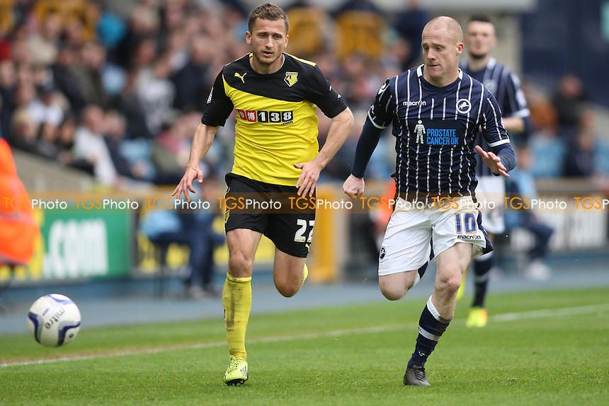 Almen Abdi of Watford and Nicky Bailey of Millwall chase the bnall - Millwall vs Watford - Sky Bet Championship Football at The New Den, Bermondsey, London - 12/04/14 - MANDATORY CREDIT: George Phillipou/TGSPHOTO - Self billing applies where appropriate - 0845 094 6026 - contact@tgsphoto.co.uk - NO UNPAID USE