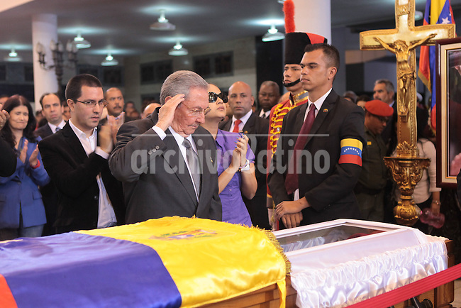 President of Cuba Raul Castro with Chavez daughters.Fuerte Tiuna, Army Academy, Caracas, mourning l of Commander Hugo Chavez, Presdient of Venezuela during the last 14 years