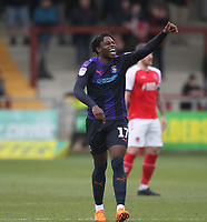 Luton Town's Pelly Ruddock  celebrates scoring his sides second goal <br /> <br /> Photographer Mick Walker/CameraSport<br /> <br /> The EFL Sky Bet League One - Fleetwood Town v Luton Town - Saturday 16th February 2019 - Highbury Stadium - Fleetwood<br /> <br /> World Copyright © 2019 CameraSport. All rights reserved. 43 Linden Ave. Countesthorpe. Leicester. England. LE8 5PG - Tel: +44 (0) 116 277 4147 - admin@camerasport.com - www.camerasport.com