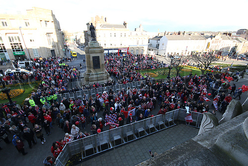 07.04.2016. Barnsley, England. Barnsley FC Johnstones Paint Trophy winners celebrations and parade.  A sea of Barnsley Fans outside the town hall