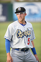 Matt Beaty (5) of the Rancho Cucamonga Quakes before a game against the Lancaster JetHawks at The Hanger on April 19, 2016 in Lancaster, California. Rancho Cucamonga defeated Lancaster, 10-6. (Larry Goren/Four Seam Images)