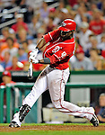 28 August 2010: Washington Nationals outfielder Roger Bernadina connects for a 2-run homer capping a 6-run 8th inning against the St. Louis Cardinals at Nationals Park in Washington, DC. The Nationals defeated the Cards 14-5 to take the third game of their 4-game series. Mandatory Credit: Ed Wolfstein Photo