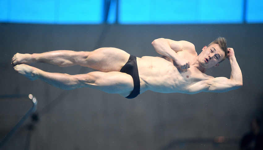 Great Britain's Jack Laugher competes in the Men's 3m Springboard Semifinal B<br /> <br /> Photographer Hannah Fountain/CameraSport<br /> <br /> FINA/CNSG Diving World Series 2019 - Day 2 - Saturday 18th May 2019 - London Aquatics Centre - Queen Elizabeth Olympic Park - London<br /> <br /> World Copyright © 2019 CameraSport. All rights reserved. 43 Linden Ave. Countesthorpe. Leicester. England. LE8 5PG - Tel: +44 (0) 116 277 4147 - admin@camerasport.com - www.camerasport.com