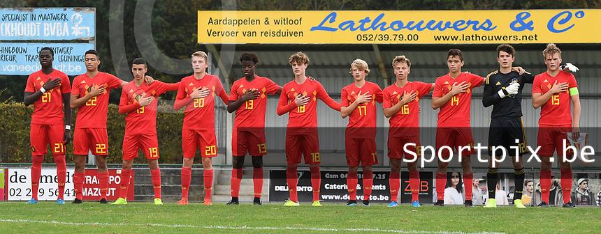 20190927 - WOLVERTEM , BELGIUM : Belgian team with Timon Vanhoutte (12)   Richie Sagrado (13)   Sofiane Et Taibi (14)   Bram Lagae (15)   Gilles Degryse (16)   Liam De Smet (17)   Raf Smekens (18)   Bilal El Khannous (19)   Mathis Servais (20)   Sekou Diawara (21)   Sami Sakkali (22) pictured during the friendly  soccer match between  under 16 teams of  Belgium and Ukraine , in Wolvertem , Belgium . Thursday 26 th September 2019 . PHOTO SPORTPIX.BE / DIRK VUYLSTEKE