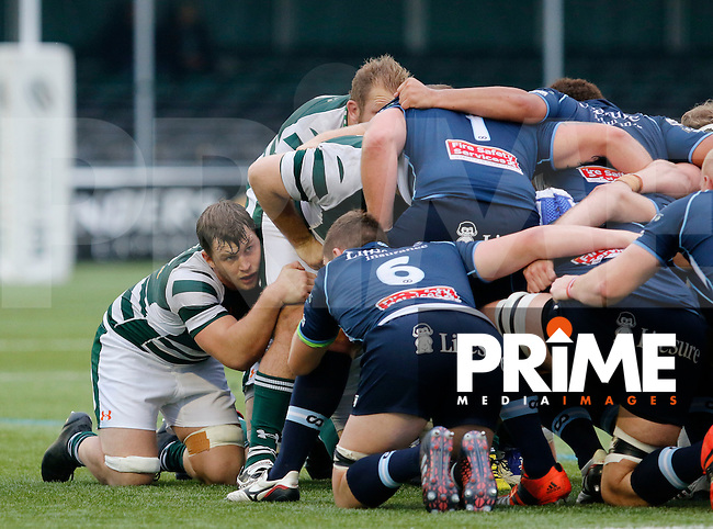 Ealing's William Ryan prepares for the scrum during the Greene King IPA Championship match between Ealing Trailfinders and Bedford Blues at Castle Bar , West Ealing , England  on 29 October 2016. Photo by Carlton Myrie / PRiME Media