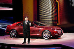 Ford Motor Company Executive Director of Design Peter Horbury introducing the Lincoln MKR concept car at the North American International Auto Show, 2007
