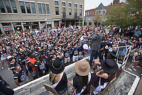 NWA Democrat-Gazette/J.T. WAMPLER Daryl Patton, head coach of the Fayetteville High School football team addresses the crowd Wednesday Sept. 30, 2015 during a homecoming pep rally on the Fayetteville square. The pep rally followed the homecoming parade from the high school to the square. The Purple Bulldogs take on Fort Smith Southside Friday night at 7:00.