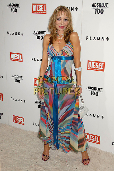 LORIELLE NEW.9th Annual Flaunt Magazine Christmas Party at The Green Room, Hollywood, California, .USA, 6 December 2007..full length blue patterned maxi dress.CAP/ADM/BP.©Byron Purvis/AdMedia/Capital Pictures.