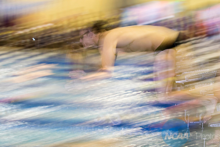 BIRMINGHAM, AL - MARCH 11: A swimmer jumps for the starting blocks during the Division II Men's and Women's Swimming & Diving Championship held at the Birmingham CrossPlex on March 11, 2017 in Birmingham, Alabama. (Photo by Matt Marriott/NCAA Photos via Getty Images)