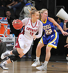 SIOUX FALLS, SD - MARCH 8:  Nicole Seekamp #35 of South Dakota drives on Chloe Cornemann #22 of South Dakota State during the women's championship game of the 2016 Summit League Tournament at the Denny Sanford Premier Center in Sioux Falls, S.D. (Photo by Dick Carlson/Inertia)