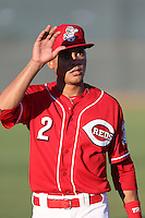 Francis Azcona (2) of the AZL Reds before a game against the AZL Brewers at Cincinnati Reds Spring Training Complex on July 5, 2015 in Goodyear, Arizona. Reds defeated the Brewers, 9-4. (Larry Goren/Four Seam Images)