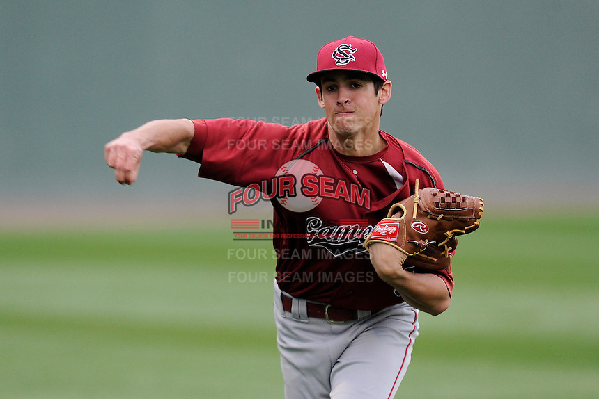 Pitcher Joel Seddon (6) of the South Carolina Gamecocks works out before a game against the Furman Paladins on Tuesday, April 8, 2014, at Fluor Field at the West End in Greenville, South Carolina. (Tom Priddy/Four Seam Images)