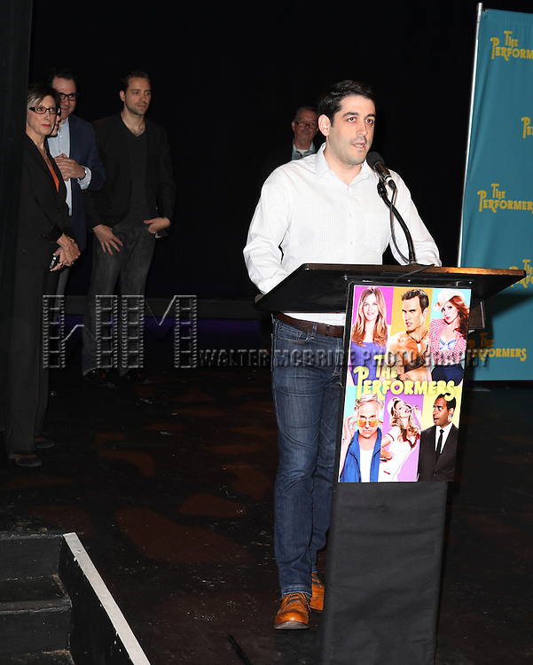 """Director Evan Cabnet attends press event to introduce the cast and creators of the new Broadway play """"The Performers""""at the Hard Rock Cafe on Tuesday, Sept. 25, 2012 in New York."""