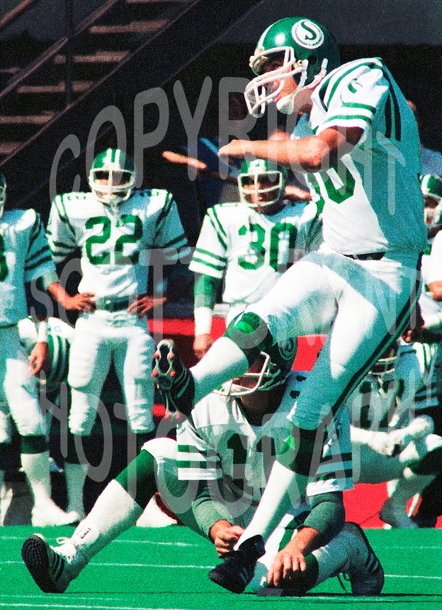 Dave Ridgway Saskatchewan Roughriders 1985. Copyright photograph Scott Grant/