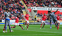 Lincoln City's Harry Anderson, right, scores his side's second goal<br /> <br /> Photographer Chris Vaughan/CameraSport<br /> <br /> The EFL Sky Bet Championship - Rotherham United v Lincoln City - Saturday 10th August 2019 - New York Stadium - Rotherham<br /> <br /> World Copyright © 2019 CameraSport. All rights reserved. 43 Linden Ave. Countesthorpe. Leicester. England. LE8 5PG - Tel: +44 (0) 116 277 4147 - admin@camerasport.com - www.camerasport.com