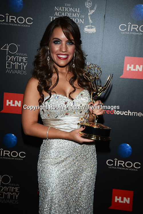 winner Kristen Alderson  attends The 40th Annual Daytime Emmy Awards on<br />  June 16, 2013 at the Beverly Hilton Hotel in Beverly Hills, California.