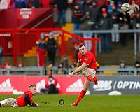 29th February 2020; Thomond Park, Limerick, Munster, Ireland; Guinness Pro 14 Rugby, Munster versus Scarlets; JJ Hanrahan of Munster kicks a conversion