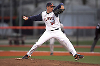April 11, 2008:  University of Illinois Fighting Illini starting pitcher Kevin Manson (35) against the University of Michigan Wolverines at Illinois Field in Champaign, IL.  Photo by:  Chris Proctor/Four Seam Images