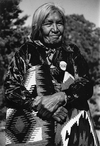 Roberta Blackgoat, Elder of the Dine Navajo and leader of resistance to forced relocation with rugs she wove from sheep she raised at Big Mountain, Arizona April 1986