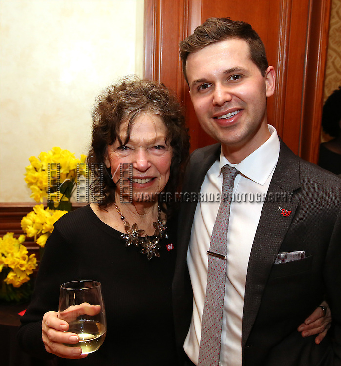 Gretchen Cryer and Seth Cotterman during the Dramatists Guild Fund intimate salon with Benj Pasek and Justin Paul at the home of Kara Unterberg on March 7, 2016 in New York City.
