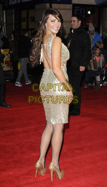 LONDON, ENGLAND - DECEMBER 19: Lizzie Cundy attends the &quot;The Harry Hill Movie&quot; world film premiere, Vue West End cinema, Leicester Square, on Thursday December 19, 2013 in London, England, UK.<br /> CAP/CAN<br /> &copy;Can Nguyen/Capital Pictures