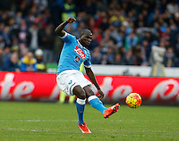 Napoli's Kalidou Koulibaly  during the  italian serie a soccer match,between SSC Napoli and Empoli      at  the San  Paolo   stadium in Naples  Italy , January 31, 2016
