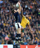 Tommy Seymour of Scotland claims the ball in the air. Rugby World Cup Quarter Final between Australia and Scotland on October 18, 2015 at Twickenham Stadium in London, England. Photo by: Patrick Khachfe / Onside Images