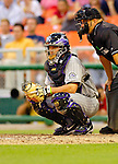 12 June 2006: JD Closser, catcher for the Colorado Rockies, sets up behind the plate during a game against the Washington Nationals at RFK Stadium, in Washington, DC. The Rockies defeated the Nationals 4-3 in the first game of the four game series...Mandatory Photo Credit: Ed Wolfstein Photo..