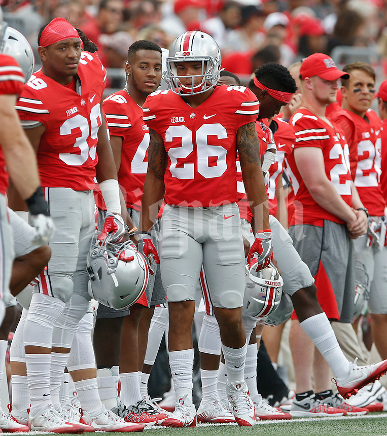 Ohio State Buckeyes safety Jarrod Barnes (26) on the sidelines   during an NCAA football game between the Ohio State Buckeyes and the Tulsa Golden Hurricane at Ohio Stadium on Saturday, September 10, 2016. (Columbus Dispatch photo by Fred Squillante)