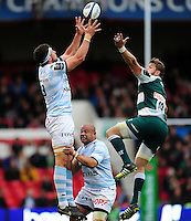 Manuel Carizza of Racing 92 claims the ball in the air. European Rugby Champions Cup semi final, between Leicester Tigers and Racing 92 on April 24, 2016 at The City Ground in Nottingham, England. Photo by: Patrick Khachfe / JMP