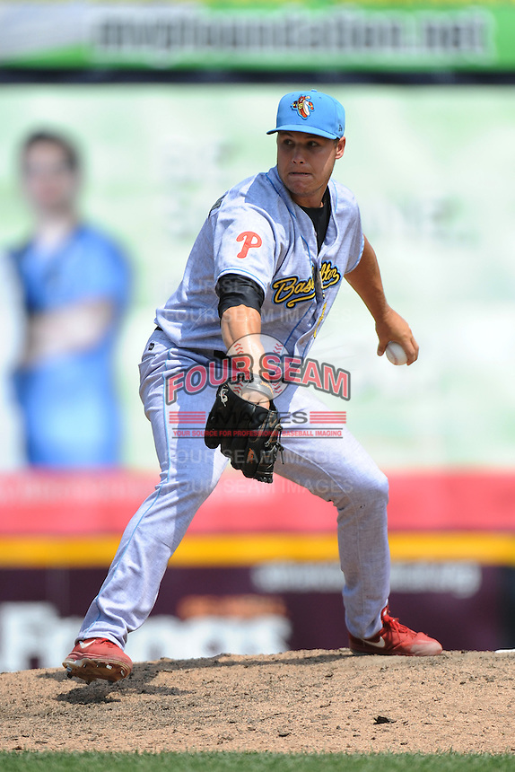 Reading Fightin Phils pitcher Jay Johnson (17) during game against the Trenton Thunder at ARM & HAMMER Park on July 8, 2013 in Trenton, NJ.  Trenton defeated Reading 10-6. ( Tomasso DeRosa/Four Seam Images)