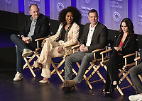 "HOLLYWOOD, CA - MARCH 17:  Tim Minear, Angela Bassett, Peter Krause and Jennifer Love Hewitt at PaleyFest 2019 - Fox's ""9-1-1"" panel at the Dolby Theatre on March 17, 2019 in Hollywood, California. (Photo by Scott Kirkland/Fox/PictureGroup)"